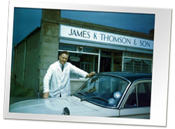 James Thomson with Car in front of Shop